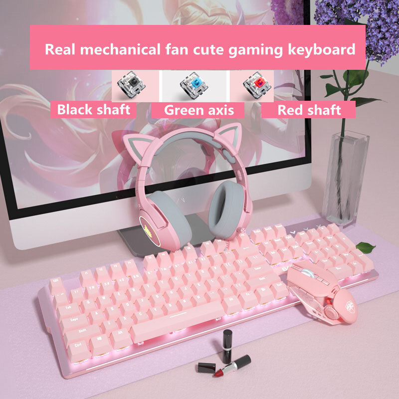 جديد جيرلي الوردي الألعاب الميكانيكية السلكية لوحة المفاتيح 104-مفتاح USB واجهة الأبيض الخلفية مناسبة للاعبين أجهزة الكمبيوتر المحمولة