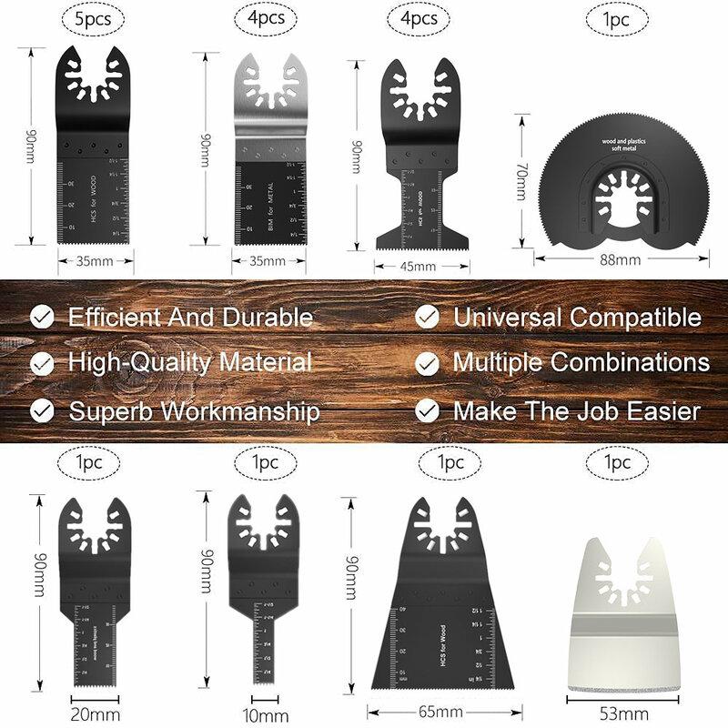 عدة شفرات منشار تتأرجح مكونة من 72 قطعة ، شفرة متعددة المهام عالمية ، ملحقات تتأرجح سريعة التحرير ، قطع معدنية من البلاستيك والخشب