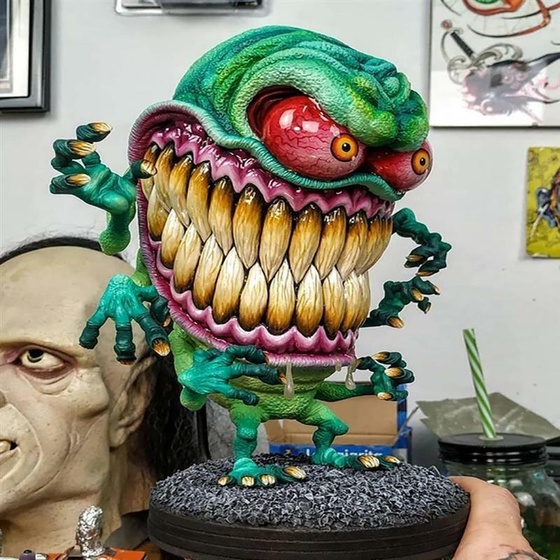 الراتنج الوحش تمثال الرعب كبير الفم الوحش الحرف هالوين زخرفة ل حديقة ساحة ديكور المنزل الطرف