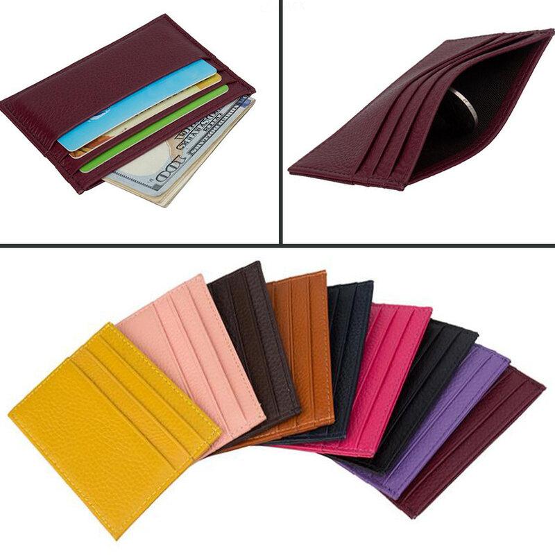 حقيقي جلد البقر حامل بطاقات التعريف الشخصية حلوى لون بطاقة بنك ائتمانية هدية صندوق متعدد فتحة سليم بطاقة حالة عالية الجودة حقيبة الملحقات