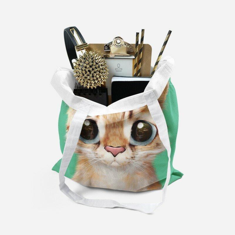 حقيبة تسوق قماشية ثلاثية الأبعاد مع طباعة قطة للنساء ، حقيبة كتف قماشية عصرية رائعة ، حقيبة تخزين قابلة لإعادة الاستخدام صديقة للبيئة Harajuku