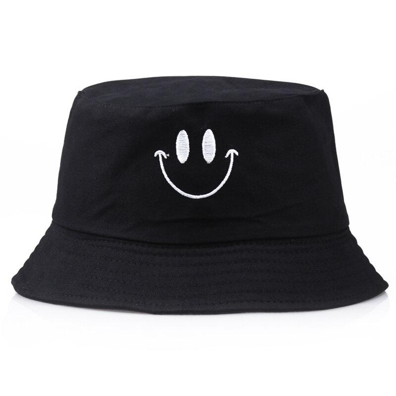 رماد ابتسامة الموضة المطرزة طوي قبعة بحافة الرجال النساء الشاطئ قبعة الشمس للجنسين الشارع أغطية الرأس صياد في الهواء الطلق قبعة بنما
