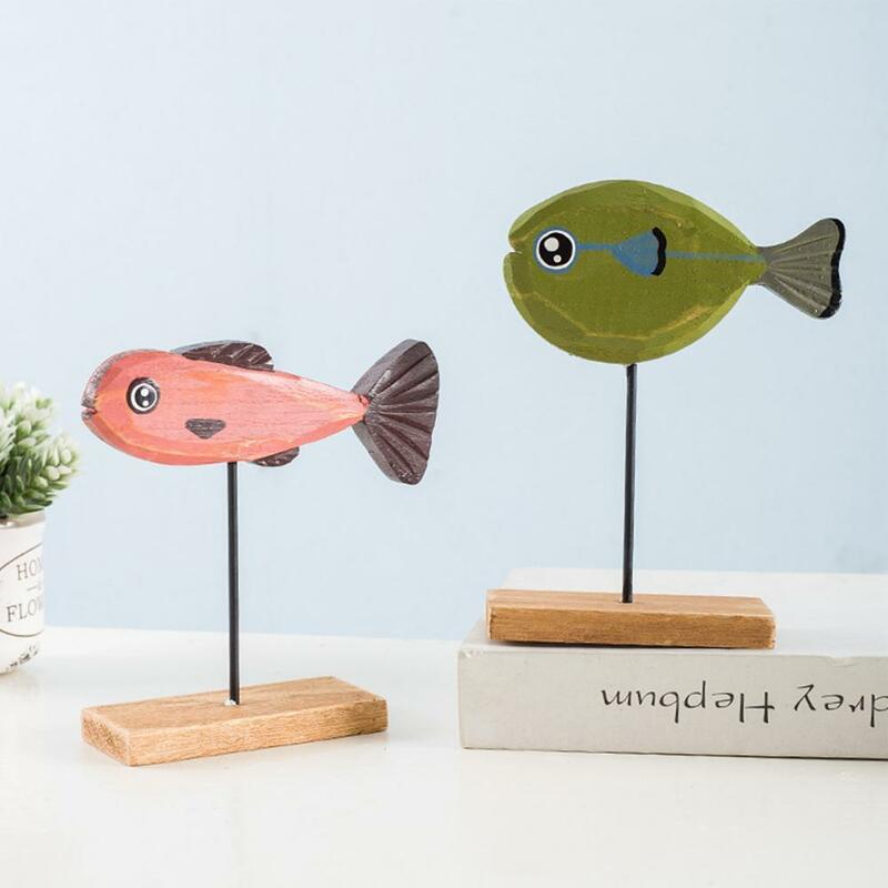 تمثال HOTFish لعام 80% رائعة مستقرة من الخشب لطيف طاولة السمك النحت للمنزل
