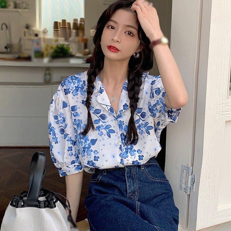 الصيف الأزهار المطبوعة محززة قميص نسائي فضفاض ملابس بأكمام قصيرة قميص من الشيفون