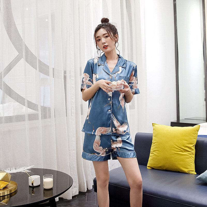 2 قطعة النساء منامة مجموعة الحرير التلبيب أنيقة رافعة الطباعة طية صدر السترة لينة قصيرة الأكمام السراويل الصيف ملابس خاصة مجموعة