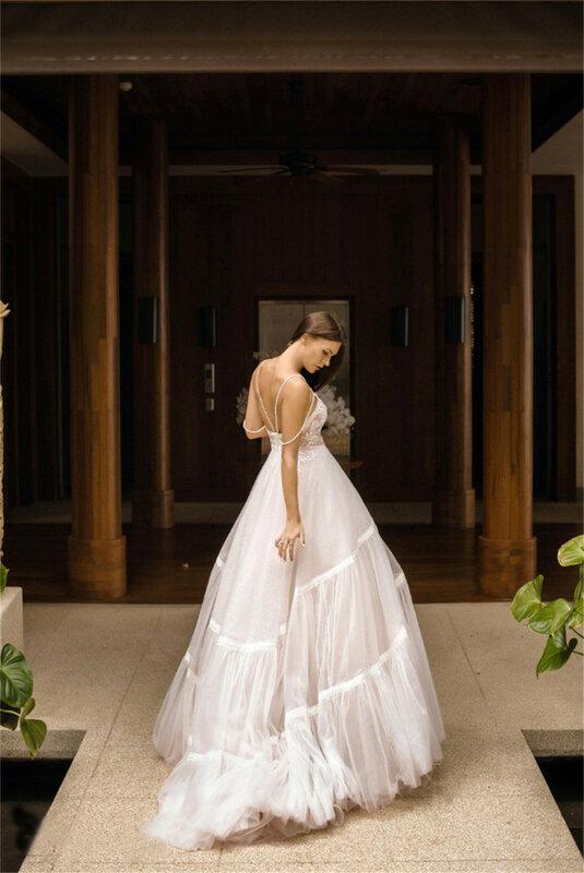 فستان زفاف مثير مصنوع من الدانتيل ، خط a ، مطرز ، سباغيتي ، مخصص ، مثير ، فستان الأميرة الرسمي ، ربيع 2021