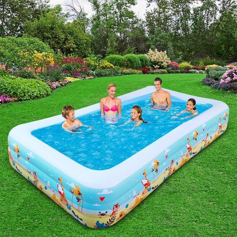حمام سباحة مربع قابل للنفخ بثلاثة طبقات ، حوض سباحة في الهواء الطلق عالي الجودة للاستخدام المنزلي ، حوض سباحة للأطفال والبالغين مقاس كبير