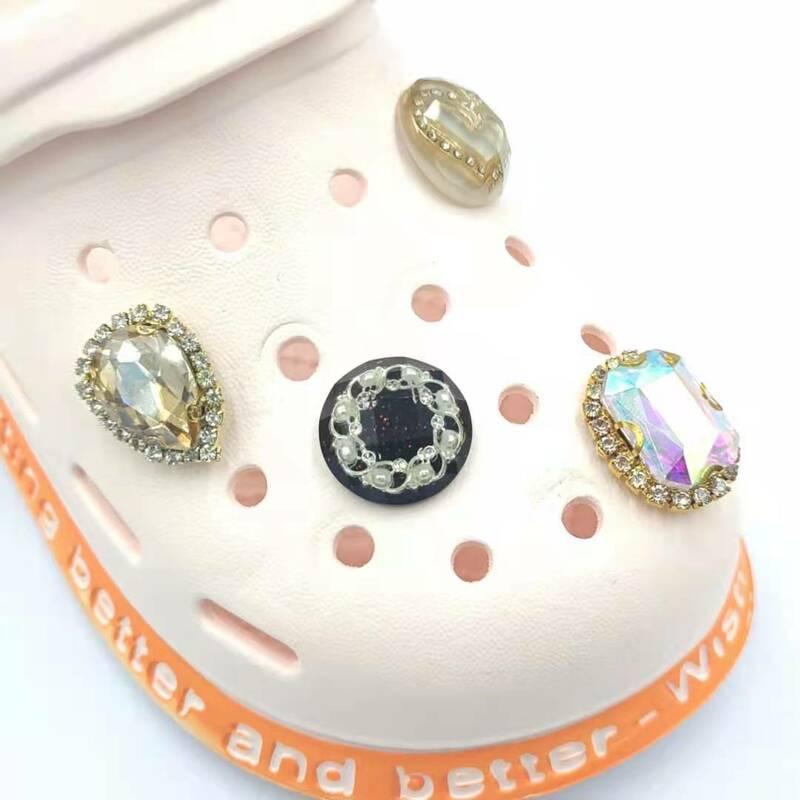 8 قطعة حجر الراين ل Crocs Charms الجينز الزينة مصمم الأطفال الصنادل الأحذية أزرار اكسسوارات النساء ل Crocs Jibz
