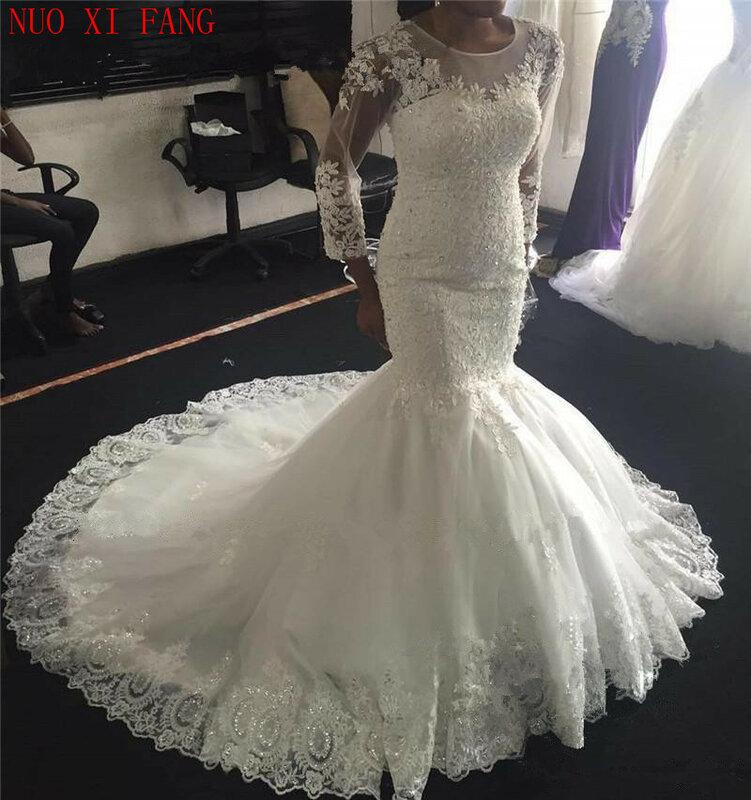 فستان زفاف أفريقي لامع على شكل حورية البحر ، أكمام طويلة ، مقاس كبير ، مزين بالدانتيل ، 2020