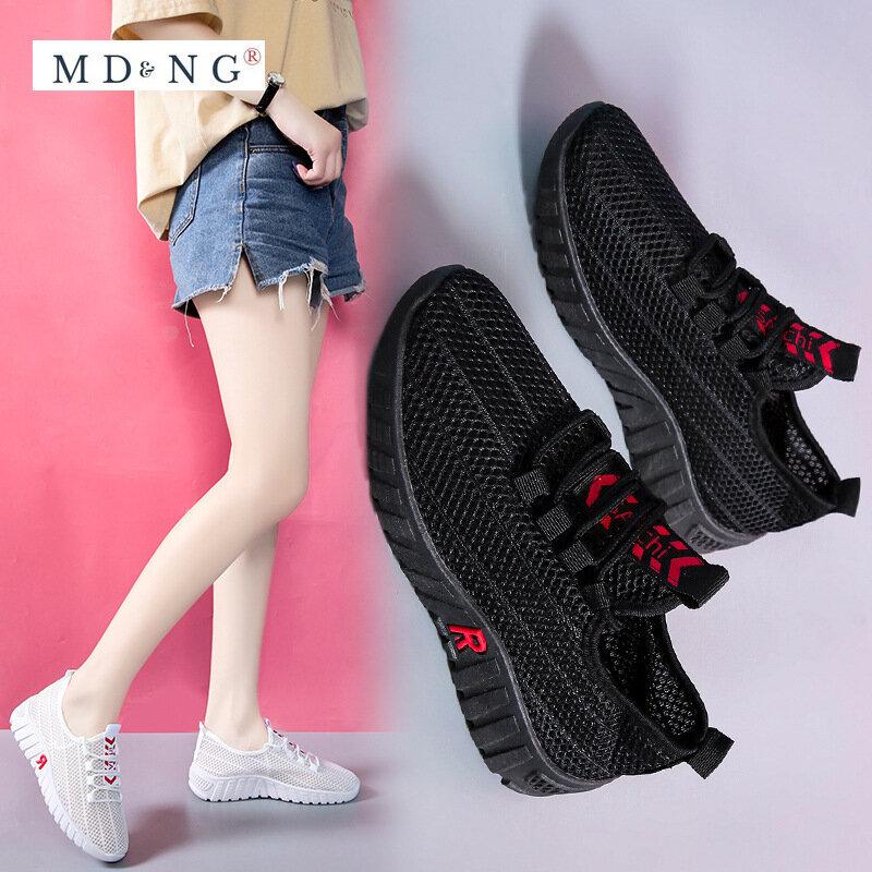 2021 جديد مريحة وخفيفة الوزن المرأة شبكة القماش جوفاء أحذية كاجوال الصيف المرأة أحذية رياضية أحذية رياضية النساء