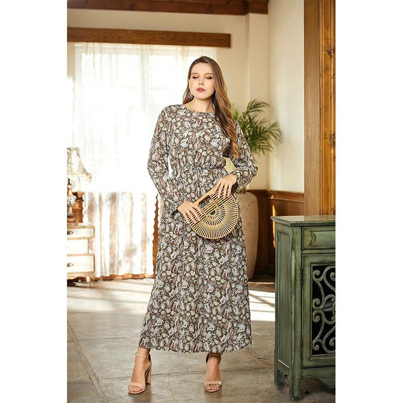 2021 ربيع جديد نمط حجم كبير التنانير النسائية أنيقة الأزهار الجولة الرقبة فستان طويل قاعدة المتضخم الطباعة فستان بكم طويل
