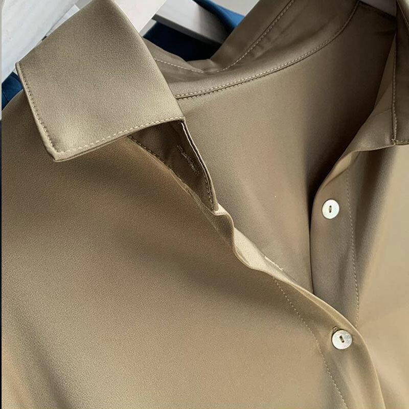 الساتان رايات قميص المرأة حجم كبير الربيع والخريف نمط جديد الكورية فضفاض ريترو BF نمط الموضة بأكمام طويلة رداء علوي غير رسمي