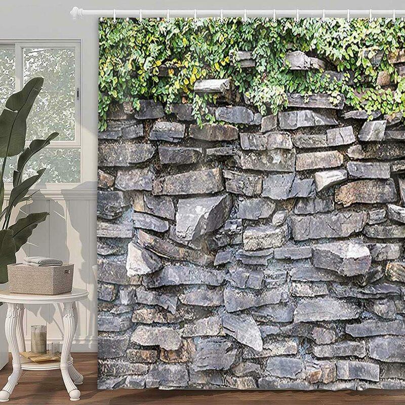 حجر الطوب دش الجدار الستار اللبلاب الأخضر يترك تسلق على الصخور الرخام ريفي حجر جدار اكسسوارات الحمام حوض الاستحمام الستار