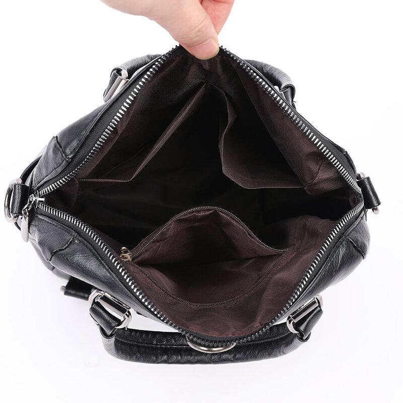 KMFFLY سعة كبيرة الرجعية السيدات حقيبة سفر المرأة حقيبة جلدية في سن المراهقة حقيبة كتف 2021 كل مباراة السيدات على ظهره