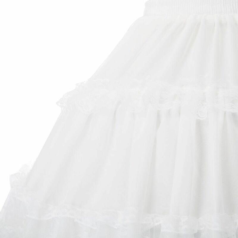 جوث لوليتا التنانير النسائية كرينولين ثوب نسائي مساء حفلة داخلية خمر مرونة الخصر 2-حلقة الكشكشة سوينغ تنورة سوداء