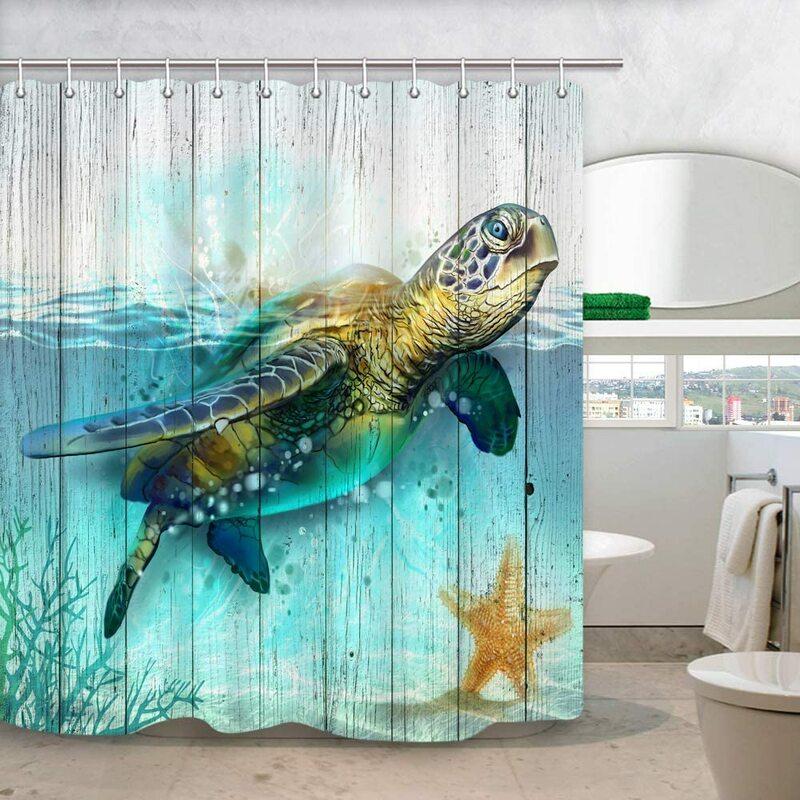 سلحفاة البحر ستارة الحمام تحت الماء العالم المحيط الحيوان السلاحف البحرية المرجان النباتات المائية على لوحات خشبية ريفي حمام الستائر