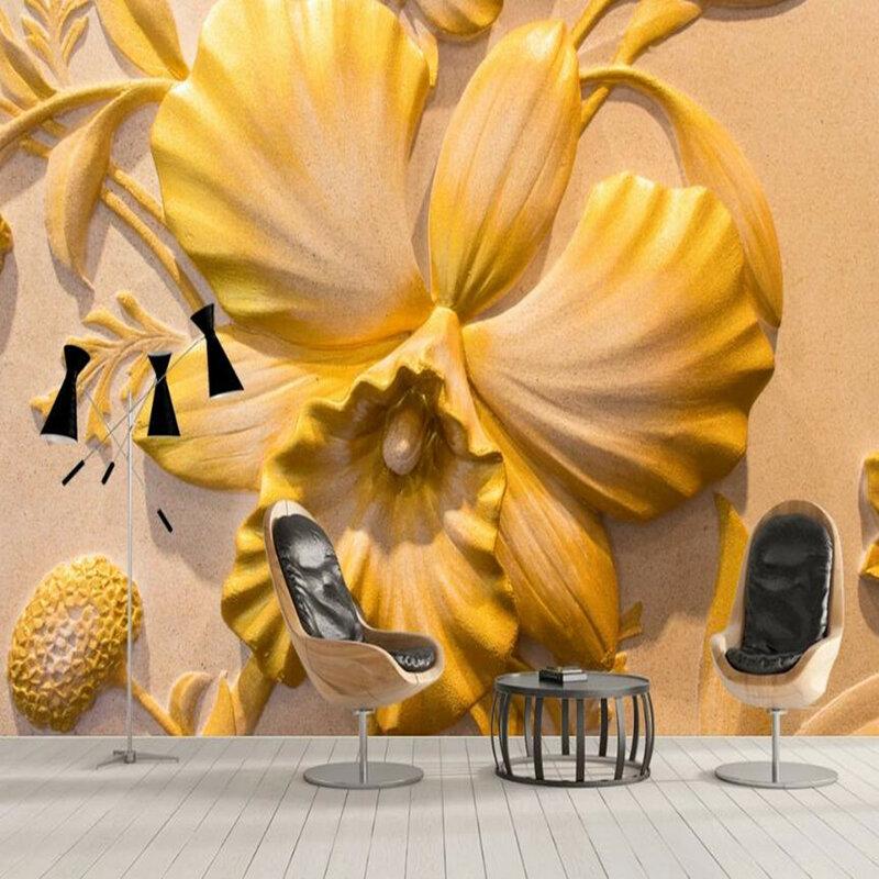 Milofi مخصص خلفية كبيرة جدارية ثلاثية الأبعاد الحد الأدنى ثلاثي الأبعاد الإغاثة زهرة خلفية جدارية خلفية