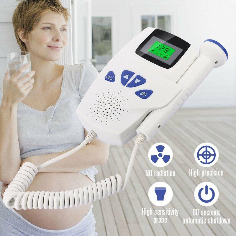 المنزلية دوبلر الجنين المحمولة الحامل الطفل مراقب معدل ضربات القلب 2.5MHz الحمل الطفل متر الجنين الصوت الموجات فوق الصوتية الكاشف