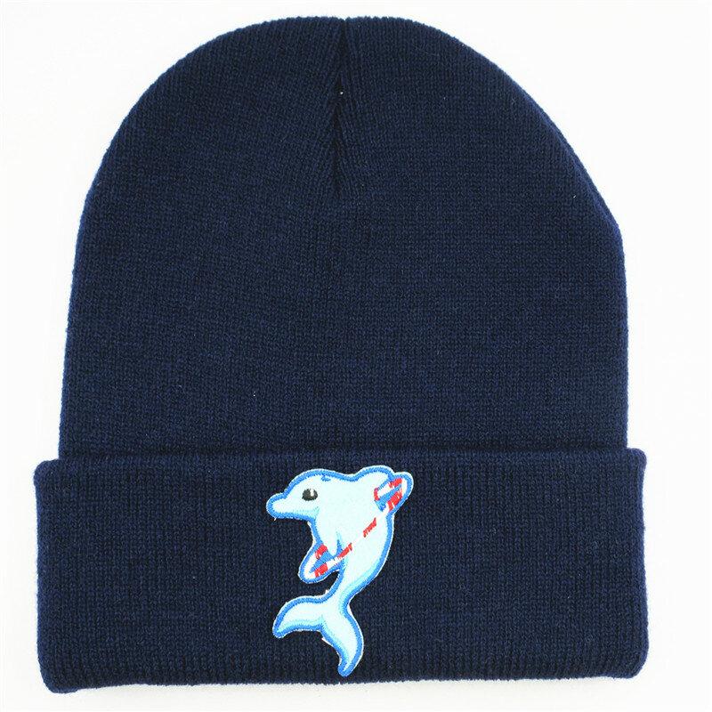 قبعة قطنية على شكل دولفين ، محبوكة ، سميكة ، دافئة ، قبعة شتوية للرجال والنساء ، 397