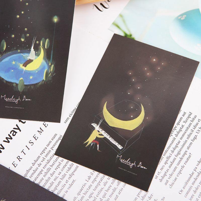 30 قطعة بطاقة بريدية مضيئة Glow في الظلام ضوء القمر تحية بطاقة بريدية الجدة عيد الميلاد بطاقات المعايدة هدية P82A