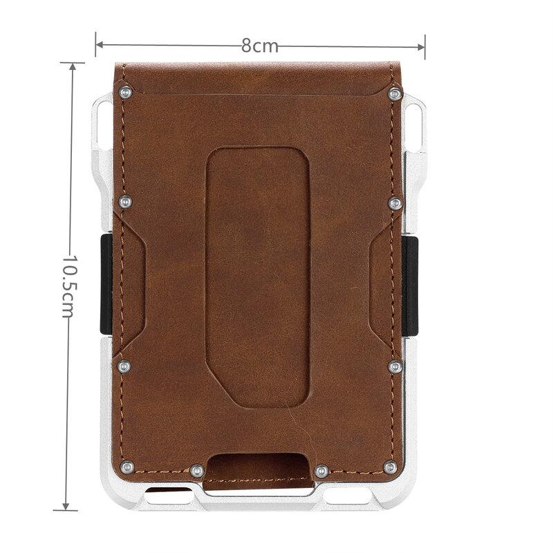 جلد الجلد تتفاعل حامل بطاقة الائتمان المعادن الرجال محافظ 2021 شارة حامل بطاقة الطيار محفظة صغيرة الحجم لحقيبة بطاقة بطاقة