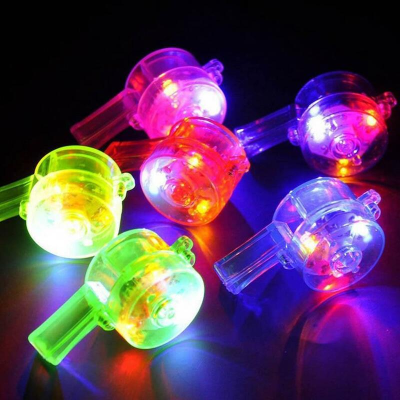 1 قطعة LED متوهجة الملونة قلادة صافرة الحبل الاطفال لعبة حزب الحفل صالح