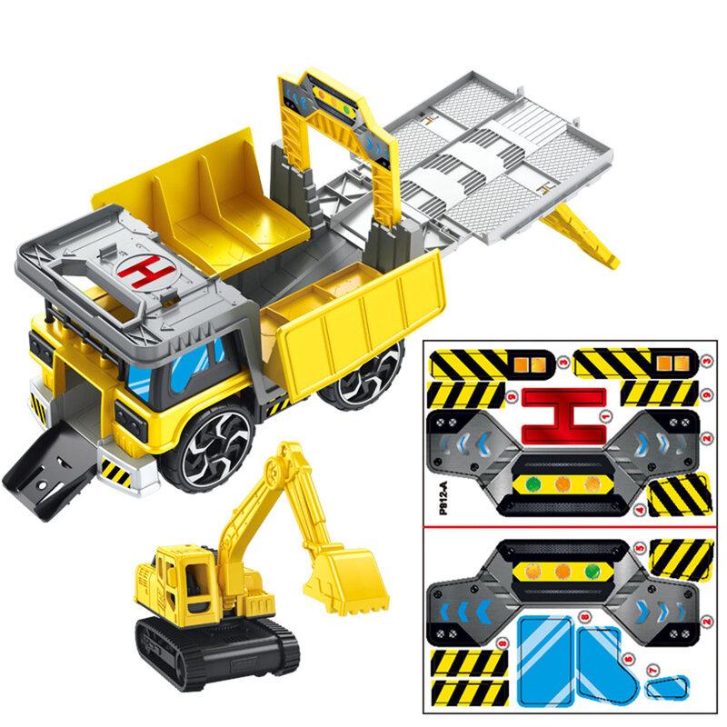 حفارة مجنزرة قابلة للتغيير ، نموذج سيارة بناء ، لعبة أطفال ، هدية عيد ميلاد