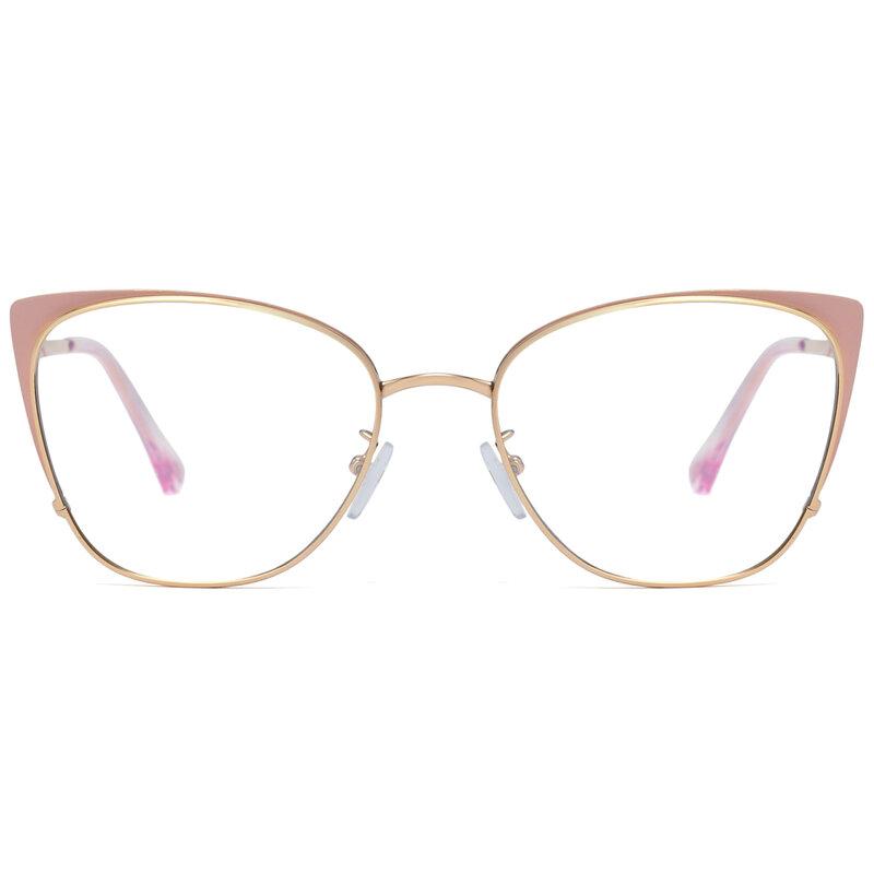 Kachawoo الأزرق مرشح ضوء النظارات النساء القط العين الوردي الأبيض المعادن إطارات النظارات الإكسسوارات السيدات للكمبيوتر
