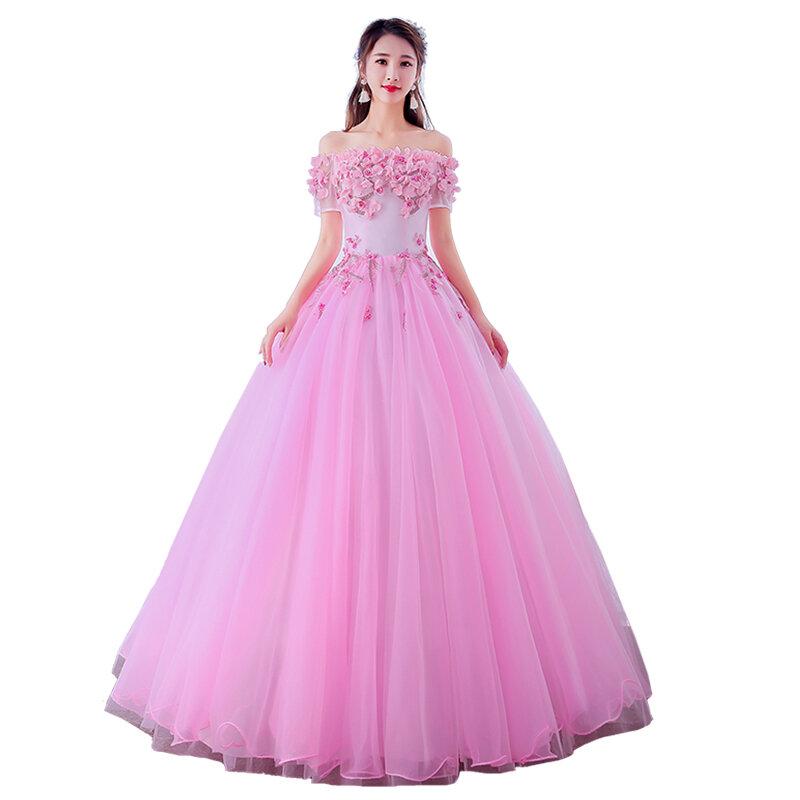 فساتين Quinceanera لعام 2020 ، فساتين gryالشيفون الجميلة ، ياقة على شكل قارب ، ثوب الكرة ، طباعة الأزهار ، حفلة موسيقية ، فستان رسمي مخصص