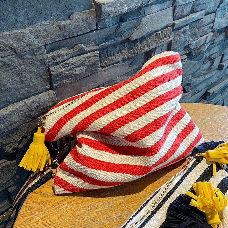 الكورية مخطط حقيبة تجميل من الخيش للنساء حقيبة مستحضرات تجميل المنظم شرابة الحقيبة السفر حقائب للزينة سستة الجمال حقائب اليد