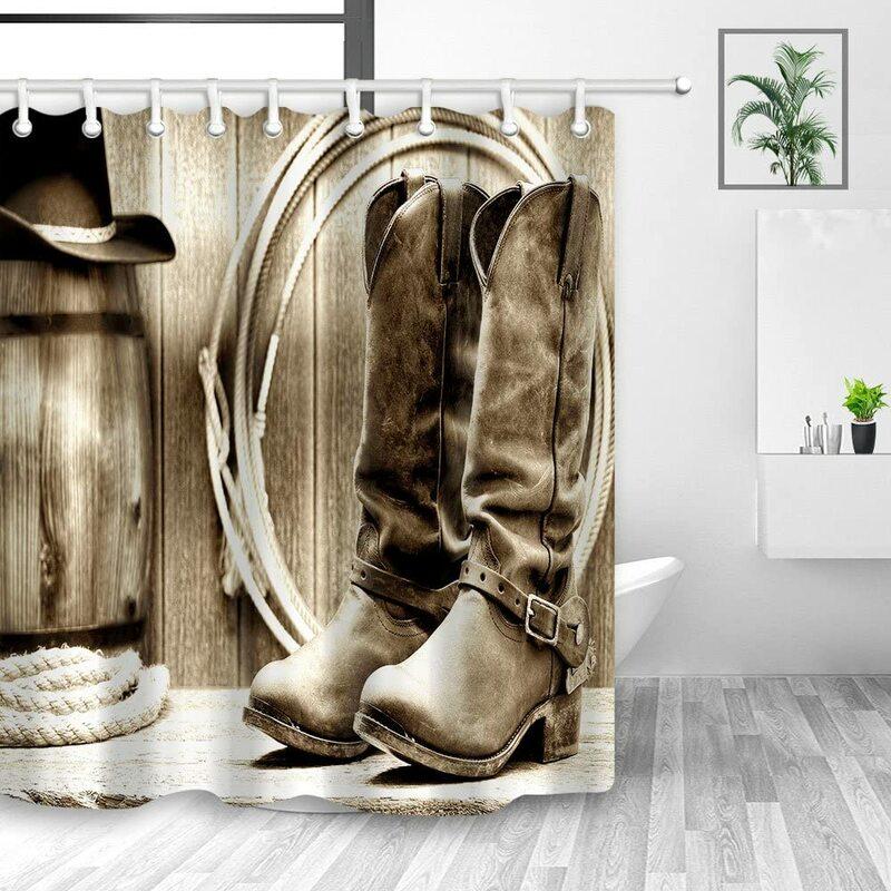 ستارة دش غربية بنمط أمريكي تقليدي للفرق الرياضية سرج رعاة البقر من الخشب بتصميم الحظيرة للحمام من البوليستر مع خطافات