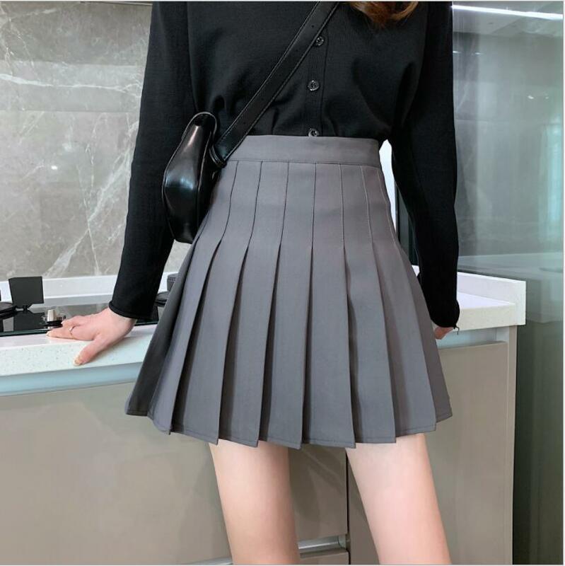 تنورة موحدة أسود أبيض عالية الخصر تنورة رقص الموضة الإناث مطوي التنانير الصغيرة النساء مطوي تنورة لطيف الحلو فتاة المدرسة