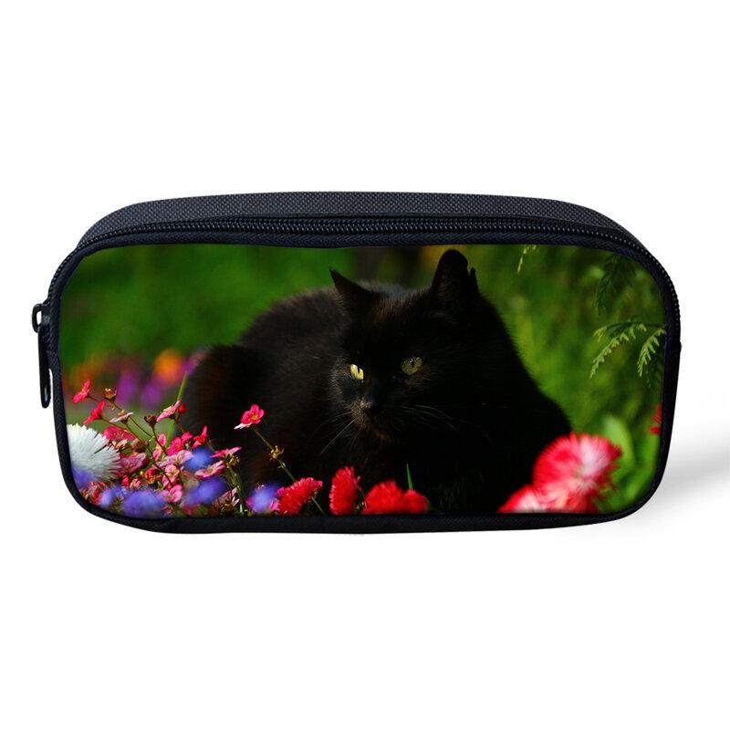 مقلمة بتصميم قطة سوداء للأطفال ، صندوق أدوات مكتبية للطلاب ، حقائب أقلام حيوانات خيالية ، أدوات تجميل كرتونية للبنات