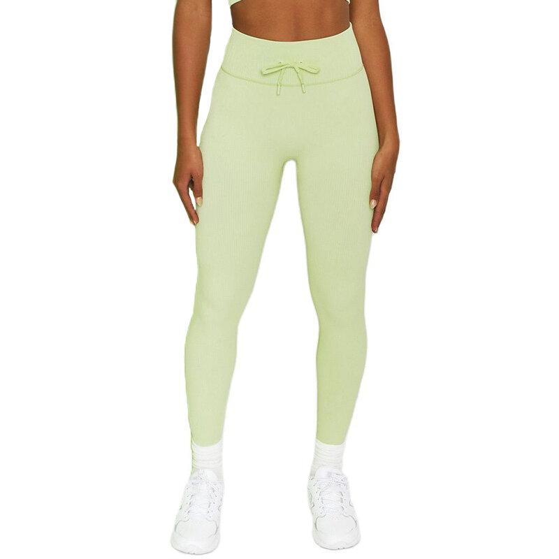 الأصفر الدانتيل متابعة اليوغا السراويل عالية الخصر الرياضة طماق النساء اللياقة البدنية لفافة ساق غير مخيطة محبوك بسط تشغيل امرأة السراويل