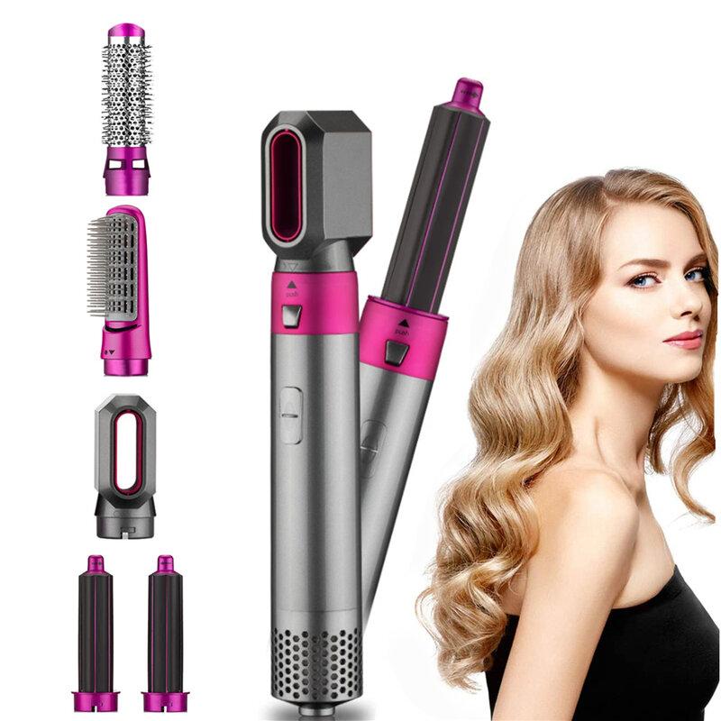 مجفف شعر متعدد الوظائف 5 في 1 ، مشط ، مكواة فرد وتجعيد الشعر ، مكواة هواء كهربائية لللف