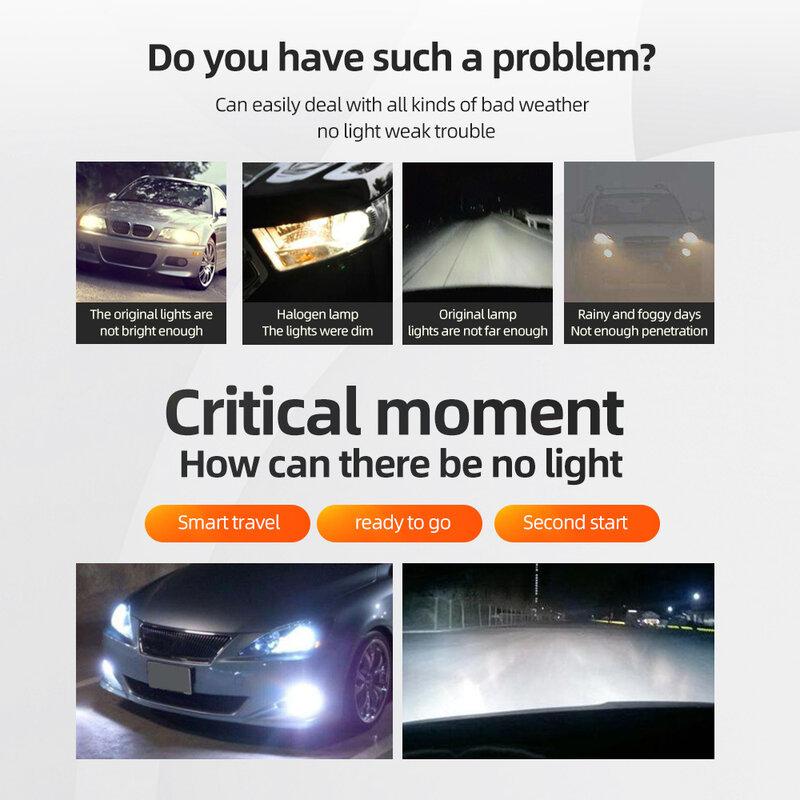 مصغرة سيارة المصابيح الأمامية H7 مصباح H8 H9 H11 9005/HB3/H10 9006/HB4 50W 12000LM H8 H9 H11 HB3 9005 سيارة العلوي 4-الجانب سطوع