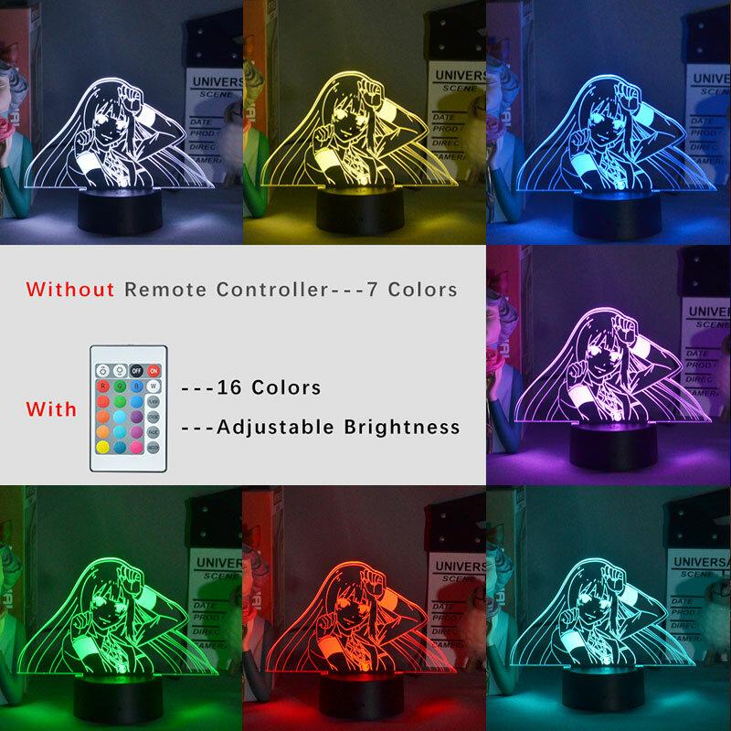 ثلاثية الأبعاد Kakegurui مصباح التطبيق 16 لون متغير سمّاعات بلوتوث لمبة مكتب Yumeko Jabami الأطفال هدية عيد ميلاد النيون علامات لغرفة