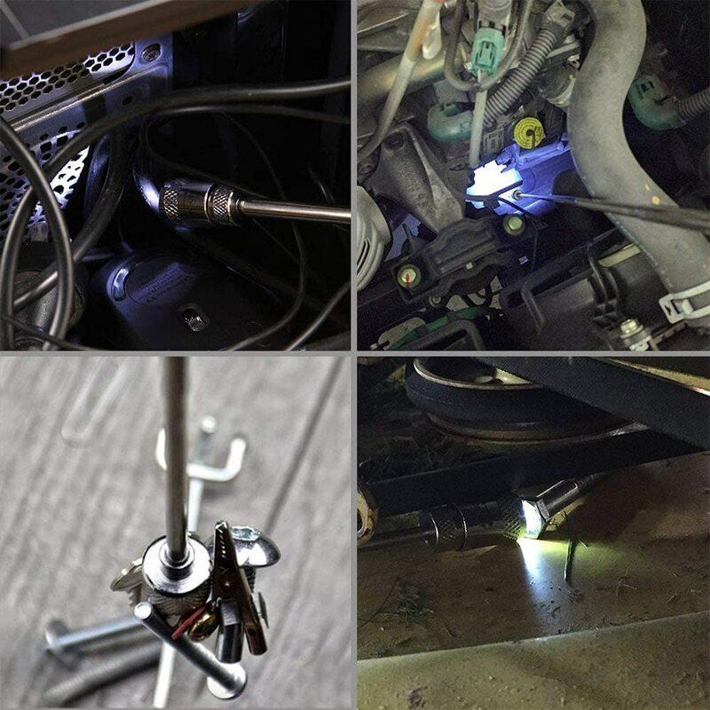 تصغير أداة بيك اب المغناطيسي 1.5lb/ 3.5lb/10lb ، 8lb مع مصباح ليد ، مرآة تفتيش مستديرة لعرض بيك اب زاوية ميتة