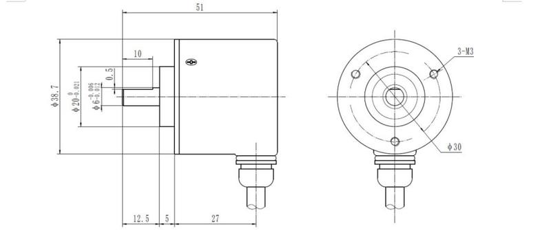 جهاز تشفير ذو قيمة مطلقة بملف واحد بثلاثة أسلاك ، مخرج SSI 4096p ، دقة عالية ، اتصال SCM stm32