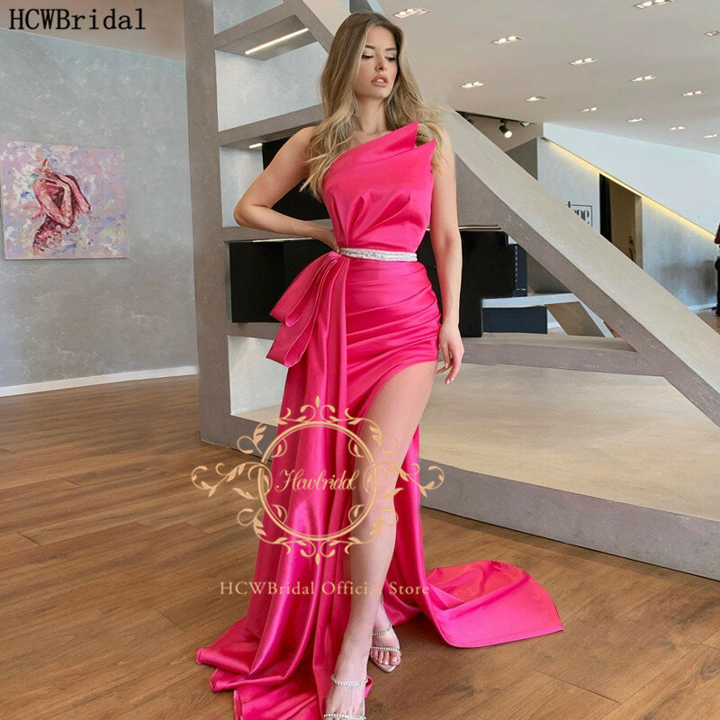فوشيا حورية البحر 2021 فستان سهرة طويل بدون حمالات حزام فضي شق عالي مثير للنساء مناسبة لحفلات الزفاف فستان سهرة رسمي