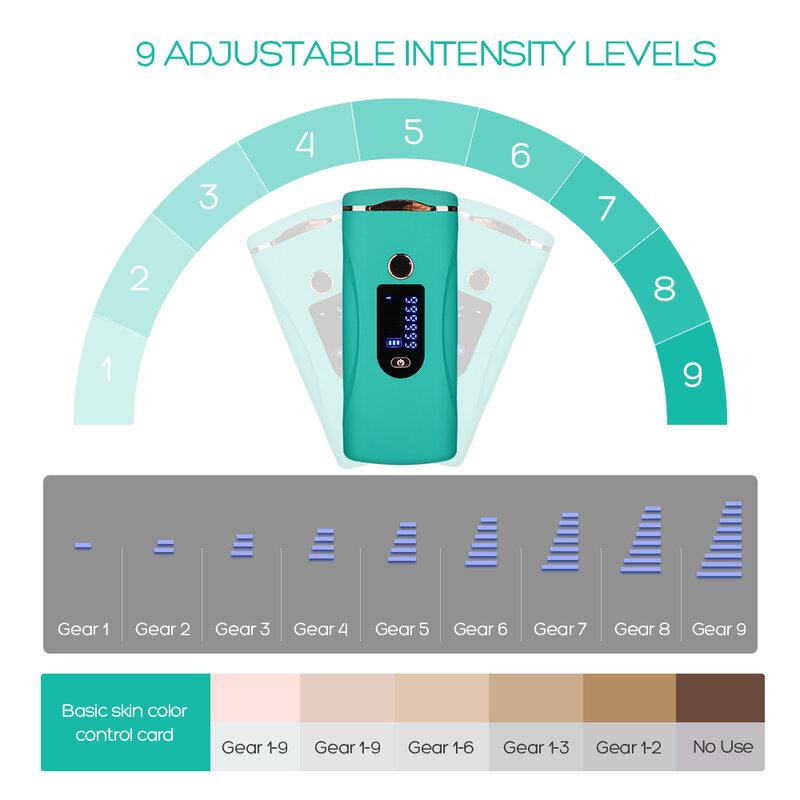 إزالة آلة إزالة الشعر بالليزر IPL شَعْر دون ألم جهاز مزيل للجسم ، تحت الإبط ، منطقة البيكيني ، 9 مستويات كثافة 999999 ومضات
