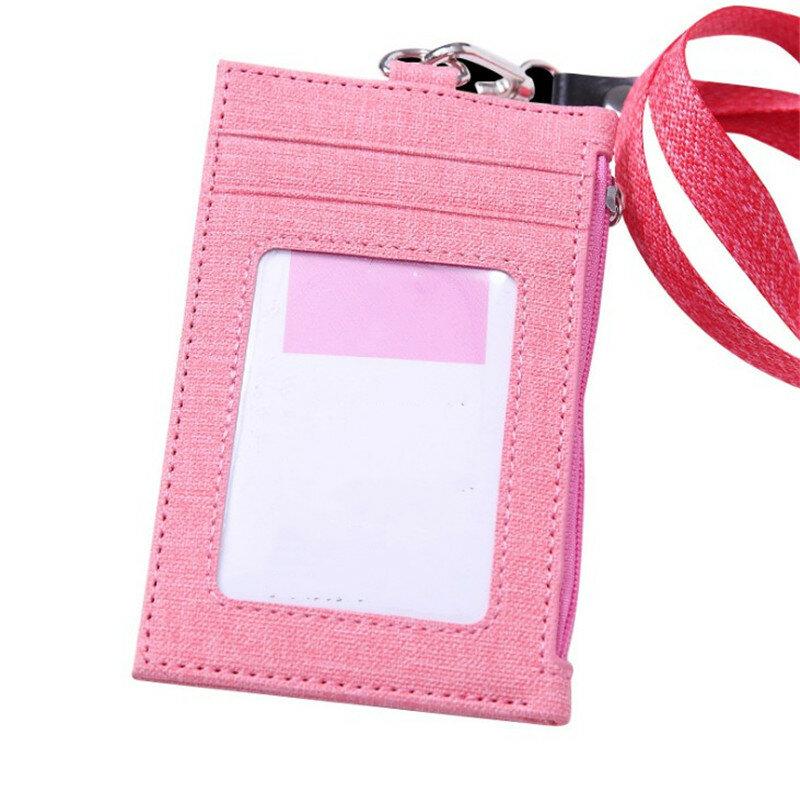 بولي Leather الجلود بطاقة كم ID شارة بطاقة بنك ائتمانية شارة حامل اكسسوارات الموظف 3 جيوب شارة للممرضة طالب