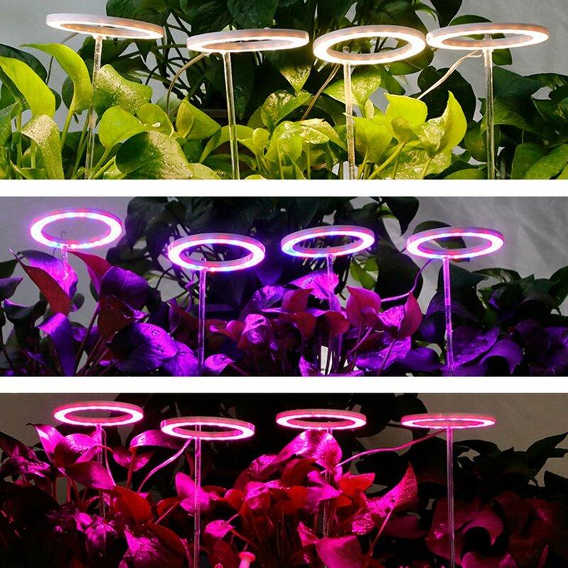 مصباح LED على شكل حلقات ملاك مفرد طراز DC5V USB Phytolamp مصباح كامل الطيف للنباتات شتلات النباتات الداخلية ونباتات ازهر