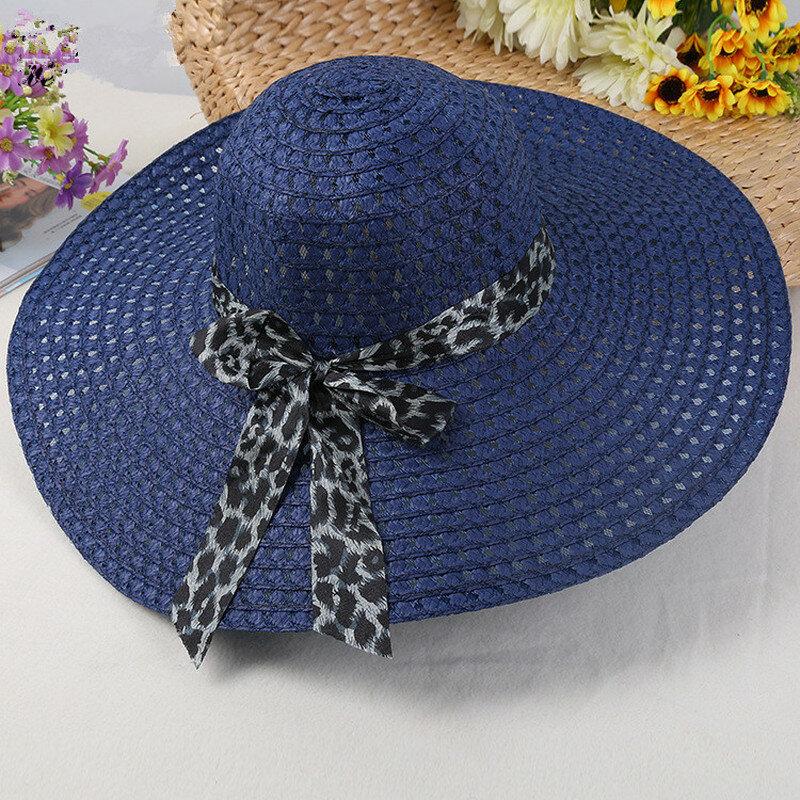 2020 موضة جديدة قبعات للحماية من الشمس للنساء الفتيات واسعة حافة قبعة من القش المرن الصيف بوهيميا شاطئ قبعة الشريط ليوبارد فاتحة فام