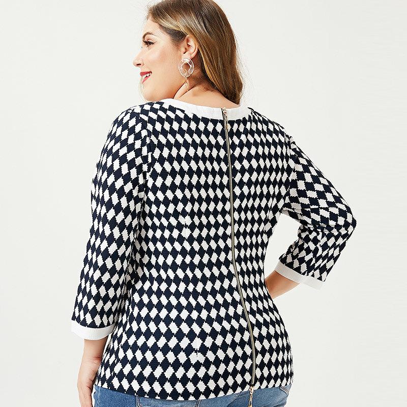 ملابس أمي للخريف 2021 تي شيرت بأكمام طويلة كلاسيكي أنيق للنساء مقاس كبير