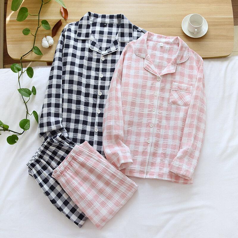 الشاش القطن منقوشة الذكور عارضة ملابس خاصة عشاق 2 قطعة منامة مجموعة لينة نوم 2021 ربيع جديد قميص و السراويل المنزل الملابس