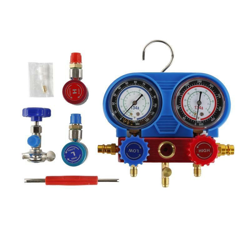 سيارة تكييف الهواء الضغط المنوع قياس خرطوم عدة ل R134A R12 R22 R502 المبردات الضغط مجموعة عدادات قياس مع صندوق تخزين