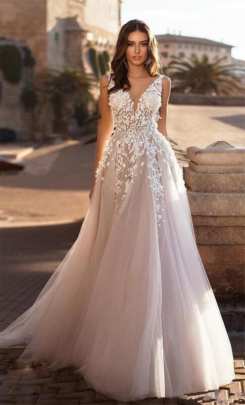 فستان زفاف من التول والدانتيل مزين بالورود ، فستان شاطئ رشيق برقبة على شكل V ، مقاس كبير ، رسن ، ثلاثي الأبعاد