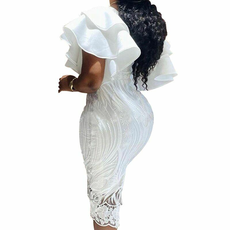 فساتين Dashiki الأفريقية للنساء فستان ضيق 2021 الصيف الربيع مثير قطع الكشكشة فساتين النساء مكتب الحفلات ميدي فيستدوس