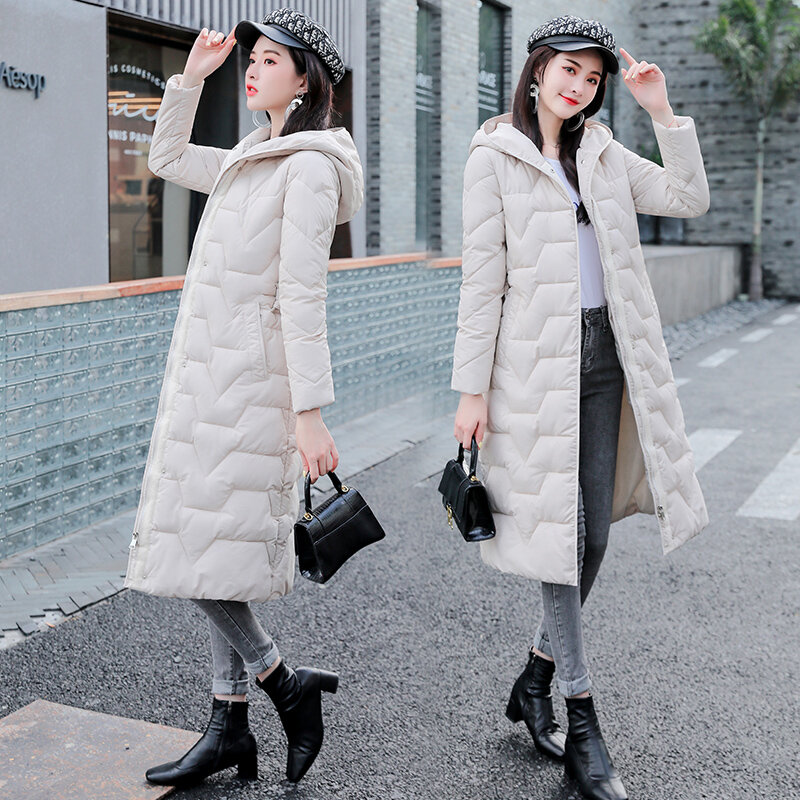 سترة شتوية نسائية مبطنة بالقطن ، معطف دافئ سميك مع حزام ، معطف طويل ، مقاس كبير ، 2020